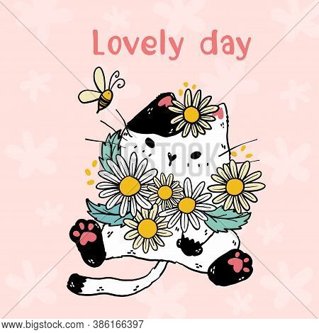 Cute White Cat With Flowers Daisy And A Bee, Lovely Day Lettering, Idea For Sticker, Greeting Card,