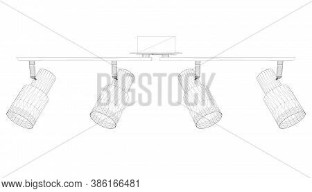 Light Fixture Wireframe From Black Lines Isolated On White Background. 3d. Vector Illustration