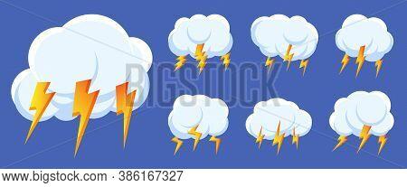 Set Of Lightning Bolt Thunderstorm Cloud Icons. Sign Logo Storm, Thunder And Lightnings Strike. Desi