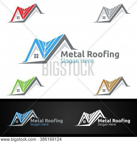 Metal Roofing Logo For Shingles Roof Real Estate Or Handyman Architecture