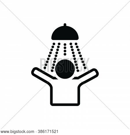 Black Solid Icon For Feeling Taking-shower Bath Hygienic Douche Happy Feeling-good Awareness Titilla
