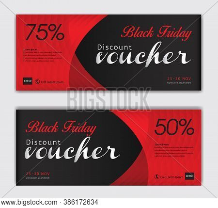 Discount Vouchers For Black Friday Sale Vector, Red Gift Voucher Template, Coupon, Discount Card, Sa