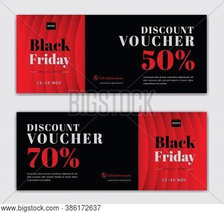 Black Friday Voucher Card Vector Template, Discount Vouchers, Red Gift Voucher Template, Coupon, Dis