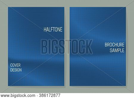 Minimalistic Cover Design Templates With Blue Monochrome Halftone Dotted Backgrounds. Layouts For Bo