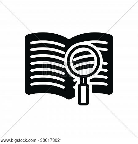 Black Solid Icon For Definition Book Catalog Database Article Clear Document Investigate Magnifing-g