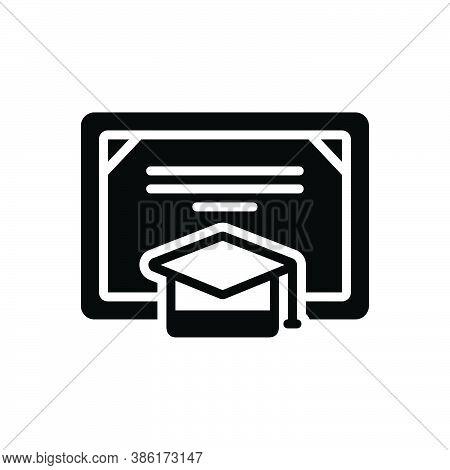 Black Solid Icon For Degree Certificate Bachelor Graduation-cap Cap Achievement Academic Diploma Edu