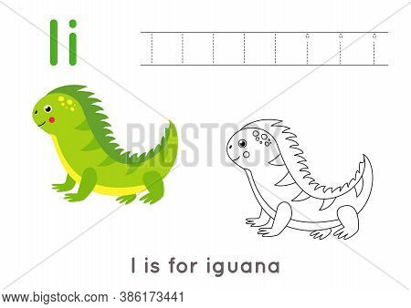Coloring Page With Letter I And Cute Cartoon Iguana.
