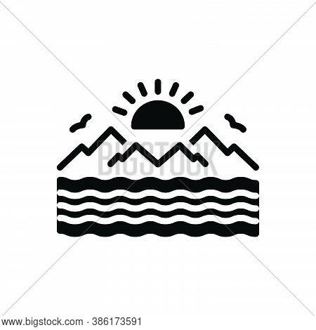 Black Solid Icon For Sea Marine Ocean Oceanic Saltwater Seawater Nautical Pelagic Deep Sun Mountain