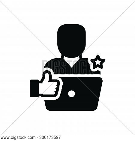 Black Solid Icon For Recommendation Recommend Say-a-good-word-for Accept Laptop Feedback Ok Gesture