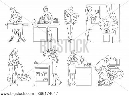 Housewife Busy With Housework And Childcare Set Of Outline Vector Illustrations.
