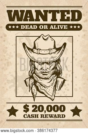 Wild West Wanted Poster With Cowboys Face, Sketch Cartoon Vector Illustration.