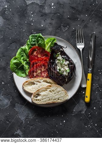 Greek Style Baked Eggplant With Feta Cheese, Tomatoes, Green Salad, Homemade Bread - Delicious Appet