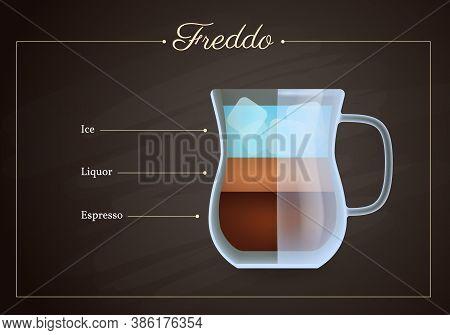 Freddo Coffee Drink Recipe. Glass Mug Of Hot Tasty Beverage On Blackboard. Preparation Guide With La