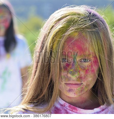 Colorful Neon Paint Makeup. Positive And Cheerful. Fashion Youth Party. Optimist. Spring Vibes. Craz