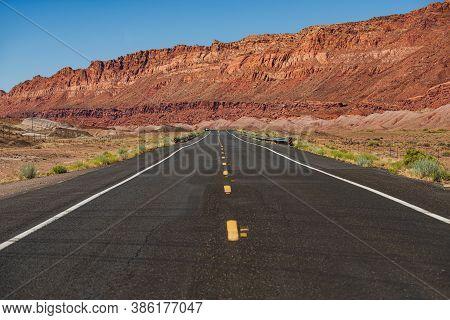 American Roadtrip. Empty Scenic Highway In Arizona, Usa