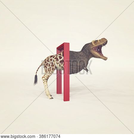 Giraffe Entering A Door And Gets Out As A T Rex . Changing Mindset And Different Approach Concept .