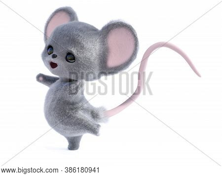 3d Rendering Of An Adorable Kawaii Furry Smiling Mouse Looking Very Happy And Jumping For Joy Or Dan