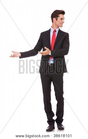 young business man is welcoming and inviting you to business on white background