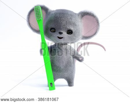 3d Rendering Of An Adorable Kawaii Furry Smiling Mouse Holding A Very Big Green Toothbrush. Ready To