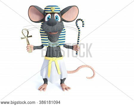 3d Rendering Of A Cute Smiling Cartoon Mouse Dressed In An Ancient Egyptian Style, Holding An Ankh A