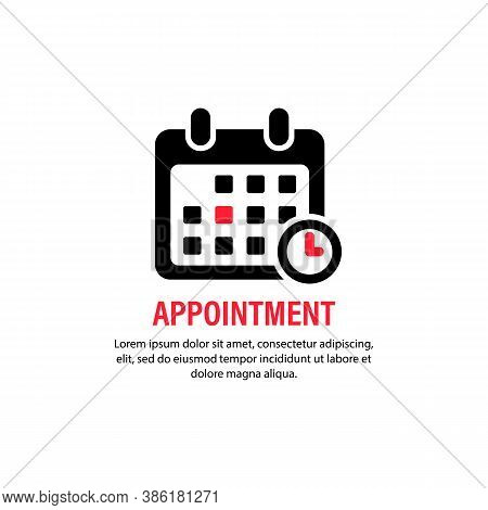 Appointment Icon. Calendar With Spesific Date. Bussiness Concept. Reminder, Planner, Organizer. Vect