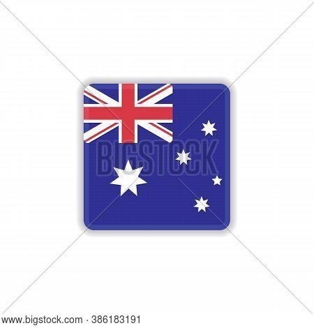 Australia National Flag Flat Icon, Vector Sign, Flag Of Australia Colorful Pictogram Isolated On Whi