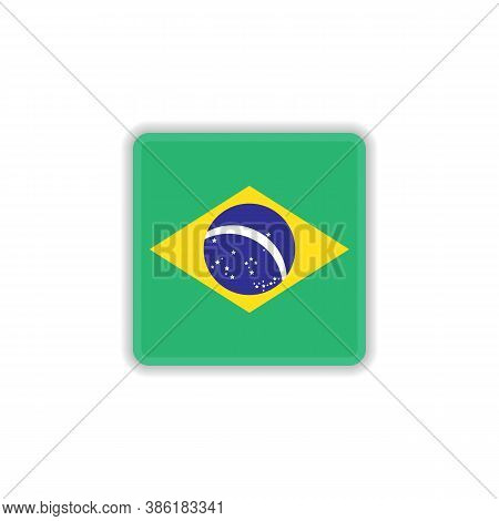 Brazil National Flag Flat Icon, Vector Sign, Flag Of Brazil Colorful Pictogram Isolated On White. Sy