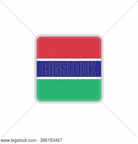 Gambia National Flag Flat Icon, Vector Sign, Flag Of Gambia Colorful Pictogram Isolated On White. Sy