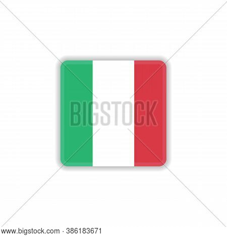 Italy National Flag Flat Icon, Vector Sign, Flag Of Italy Colorful Pictogram Isolated On White. Symb