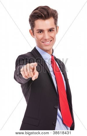 Business man pointing at you , choosing you for business, on white background
