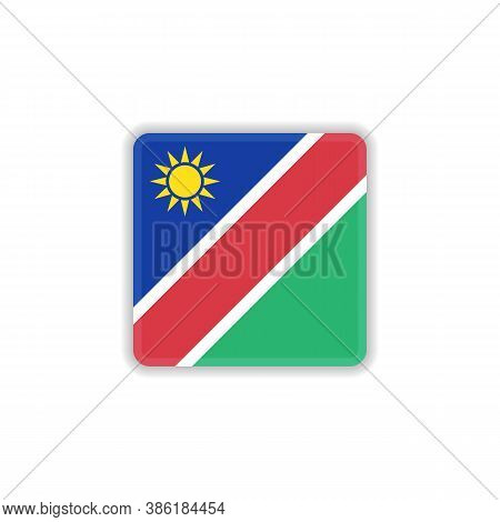 Namibia National Flag Flat Icon, Vector Sign, Official Flag Of Namibia Colorful Pictogram Isolated O