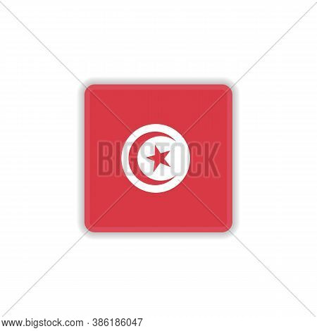 Tunisia National Flag Flat Icon, Vector Sign, Official Flag Of Tunisia Colorful Pictogram Isolated O