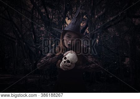 Halloween Witch Holding A Skull Standing Over Spooky Dark Forest With Tree, Leaves And Vine, Hallowe