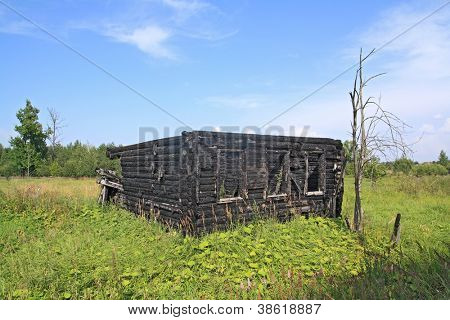 burned rural house on green field