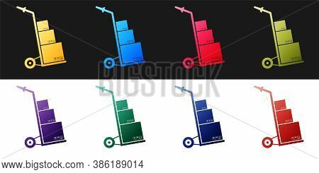 Set Hand Truck And Boxes Icon Isolated On Black And White Background. Dolly Symbol. Vector