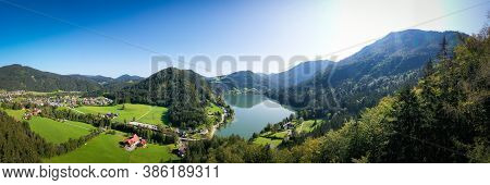Lunzer See In The Ybbstal Alps. Aerial Panorama View To The Idyllic Lake In Lower Austria.