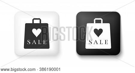 Black And White Shoping Bag With An Inscription Sale Icon Isolated On White Background. Handbag Sign