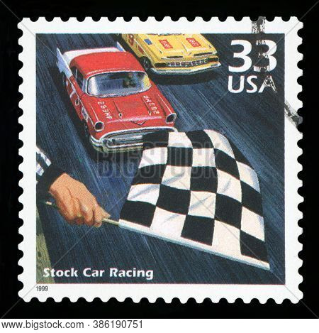 United States Of America - Circa 1999: A Postage Stamp Printed In Usa Showing An Image Of A Stock Ca