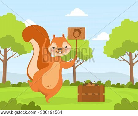 Cute Squirrel Holding Sign Board With Acorn, Adorable Humanized Wild Animal Character Standing On Su