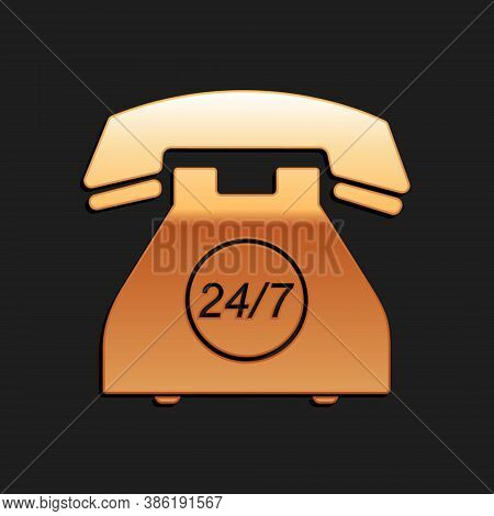 Gold Telephone 24 Hours Support Icon Isolated On Black Background. All-day Customer Support Call-cen