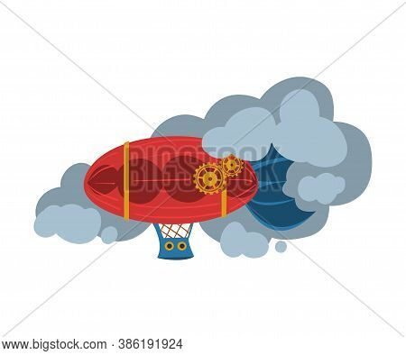Steampunk Airship, Dirigible, Antique Mechanical Device Or Mechanism, Stylized Cartoon Style Vector