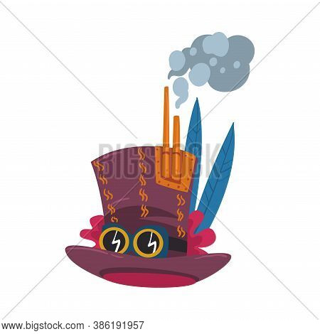 Steampunk Top Hat With Goggles, Antique Mechanical Device Or Mechanism, Stylized Cartoon Style Vecto