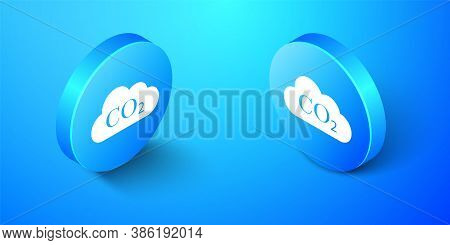 Isometric Co2 Emissions In Cloud Icon Isolated On Blue Background. Carbon Dioxide Formula Symbol, Sm