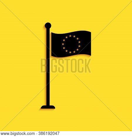 Black Flag Of European Union Icon Isolated On Yellow Background. Eu Circle Symbol. Waving Eu Flag On