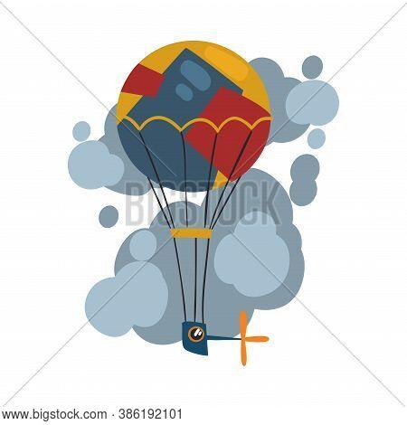 Steampunk Hot Air Balloon, Aerostat, Antique Mechanical Device Or Mechanism, Stylized Cartoon Style