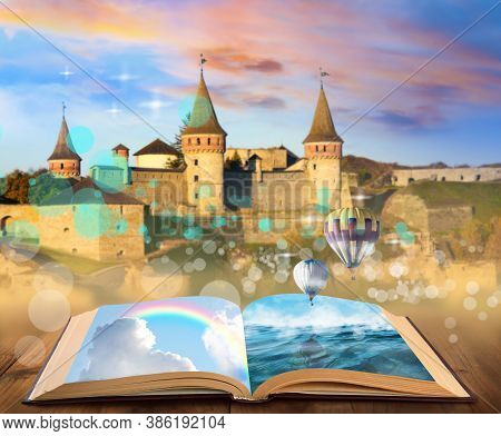 Fantasy Worlds In Fairytales. Book, Hot Air Balloons And Enchanted Castle On Background