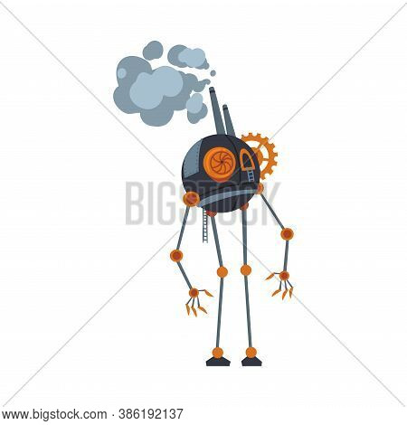 Steampunk Robot, Antique Mechanical Device Or Mechanism, Stylized Cartoon Style Vector Illustration