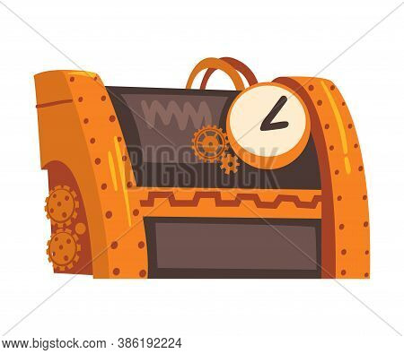 Antique Steampunk Mechanical Device Or Mechanism, Stylized Cartoon Style Vector Illustration
