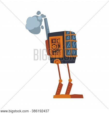 Steampunk Robotic Mechanism, Antique Mechanical Device Or Mechanism, Stylized Cartoon Style Vector I
