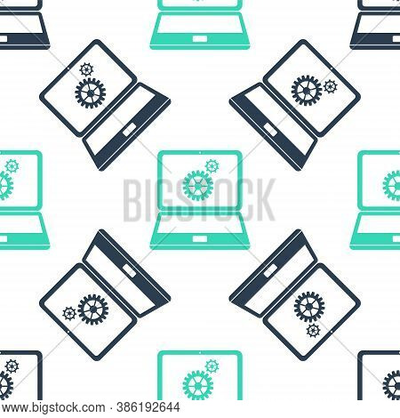Green Laptop And Gears Icon Isolated Seamless Pattern On White Background. Adjusting App, Service, S
